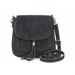 Kožená kabelka na rameno 1147 čierna, Čierna