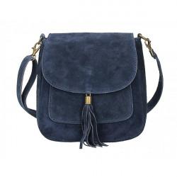 Kožená kabelka na rameno 1147 modrá, Modrá