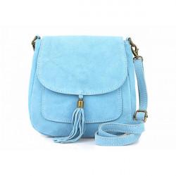 Kožená kabelka na rameno 1147 nebesky modrá, Nebesky modrá