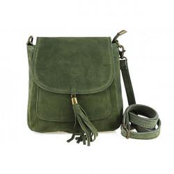 Kožená kabelka na rameno 1147 vojenská zelená, Zelená