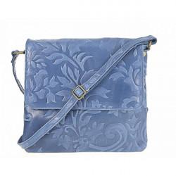 Kožená kabelka na rameno 116 jeans, Modrá
