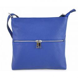 Kožená kabelka na rameno 147 azurovo modrá Made in Italy Modrá