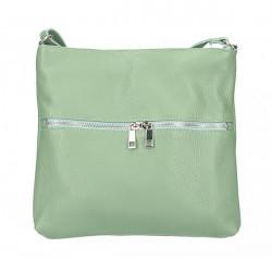 Kožená kabelka na rameno 147 mentolová Made in Italy Mäta