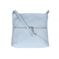 Kožená kabelka na rameno 147 nebesky modrá Made in Italy Nebesky modrá