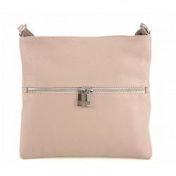 Kožená kabelka na rameno 147 ružová Made in Italy, Ružová