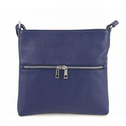 Kožená kabelka na rameno 147 tmavomodrá Made in Italy, Modrá