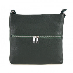 Kožená kabelka na rameno 147 tmavozelená Made in Italia, Zelená