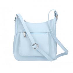 Kožená kabelka na rameno 1489 nebesky modrá, Nebesky modrá