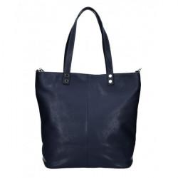 Kožená kabelka na rameno 165 tmavomodrá MADE IN ITALY Modrá