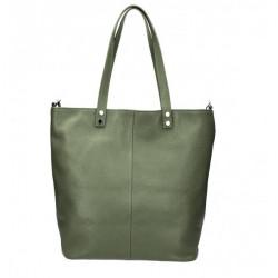 Kožená kabelka na rameno 165 vojenska zelená MADE IN ITALY Zelená