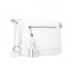 Kožená kabelka na rameno 187 biela, Biela