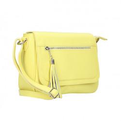 Kožená kabelka na rameno 187 žltá, Žltá