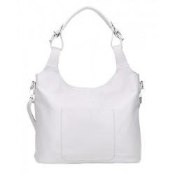 Kožená kabelka na rameno 205 MADE IN ITALY biela Biela