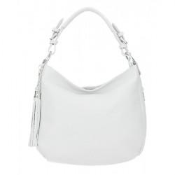 Kožená kabelka na rameno 210 biela Made in Italy Biela