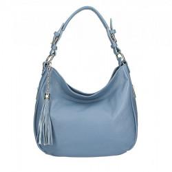 Kožená kabelka na rameno 210 nebesky modrá Made in Italy Nebesky modrá