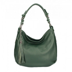 Kožená kabelka na rameno 210 tmavozelená Made in Italy Zelená