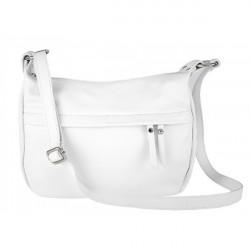 Kožená kabelka na rameno 392 biela Made in Italy, Biela