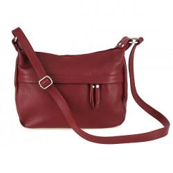 Kožená kabelka na rameno 392 červená Made in Italy, Červená