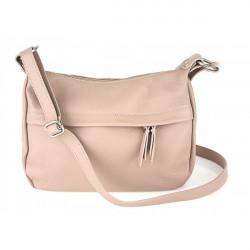 Kožená kabelka na rameno 392 ružová Made in Italy, Ružová