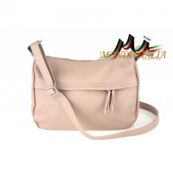 Kožená kabelka na rameno 392 ružová MADE IN ITALY