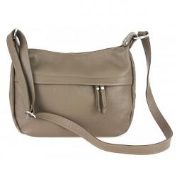 Kožená kabelka na rameno 392 tmavá šedohnedá Made in Italy, Šedohnedá