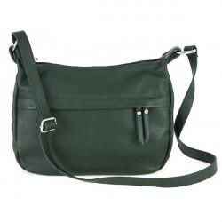 Kožená kabelka na rameno 392 tmavozelená Made in Italy, Zelená