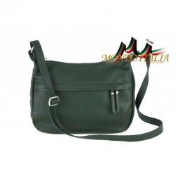 Kožená kabelka na rameno 392 tmavozelená MADE IN ITALY