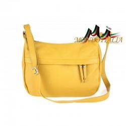 Kožená kabelka na rameno 392 žltá MADE IN ITALY