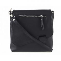 Kožená kabelka na rameno 485 Made in Italy čierna, Čierna