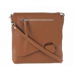 Kožená kabelka na rameno 485 Made in Italy koňaková, Koňak