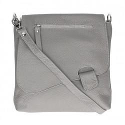 Kožená kabelka na rameno 485 Made in Italy šedá, Šedá