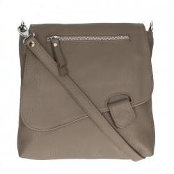Kožená kabelka na rameno 485 Made in Italy tmavá šedohnedá, Šedohnedá