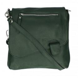 Kožená kabelka na rameno 485 Made in Italy tmavo zelená, Zelená