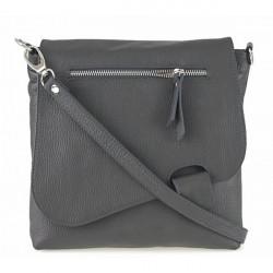 Kožená kabelka na rameno 485 Made in Italy tmavošedá, Šedá