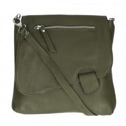 Kožená kabelka na rameno 485 Made in Italy vojenská zelená, Zelená