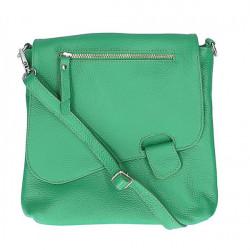 Kožená kabelka na rameno 485 Made in Italy zelená, Zelená