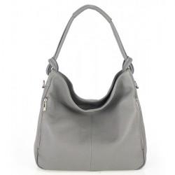 Kožená kabelka na rameno 499 šedá Made in Italy, Šedá