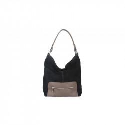 Kožená kabelka na rameno 5075 čierna, čierna