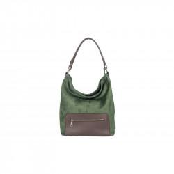 Kožená kabelka na rameno 5075 tmavozelená MADE IN ITALY,