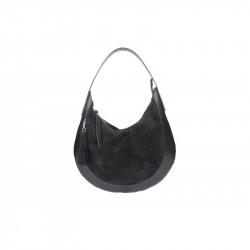 9f8243fc63711 Kožená kabelka na rameno 5077 čierna MADE IN ITALY, čierna