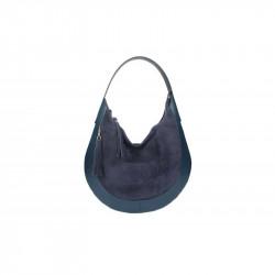 Kožená kabelka na rameno 5077 modrá MADE IN ITALY, modrá