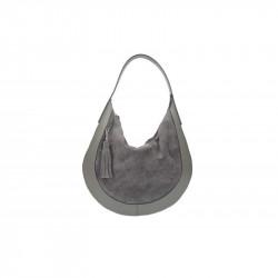 Kožená kabelka na rameno 5077 tmavošedá MADE IN ITALY, šedá