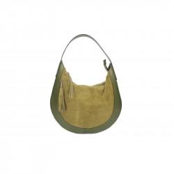 Kožená kabelka na rameno 5077vojenská zelená MADE IN