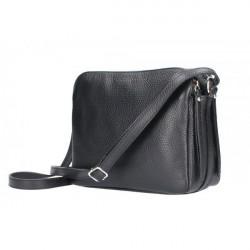 Kožená kabelka na rameno 517 čierna, Čierna
