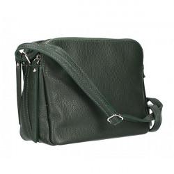 Kožená kabelka na rameno 517 zelená Made in Italy Zelená