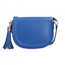 Kožená kabelka na rameno 5300 azurovo modrá MADE IN ITALY, azurovo modrá