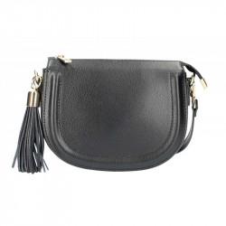 Kožená kabelka na rameno 5300 čierna MADE IN ITALY