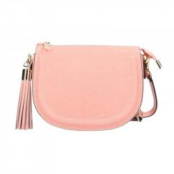 Kožená kabelka na rameno 5300 ružová MADE IN ITALY, ružová