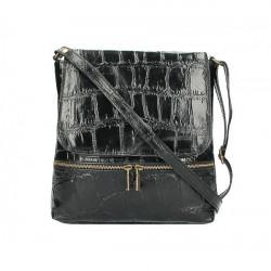 Kožená kabelka na rameno 573 čierna Made in Italy Čierna