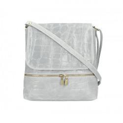 Kožená kabelka na rameno 573 šedá Made in Italy Šedá